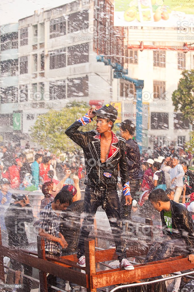 Thingyan Water Festival royalty-free stock photo