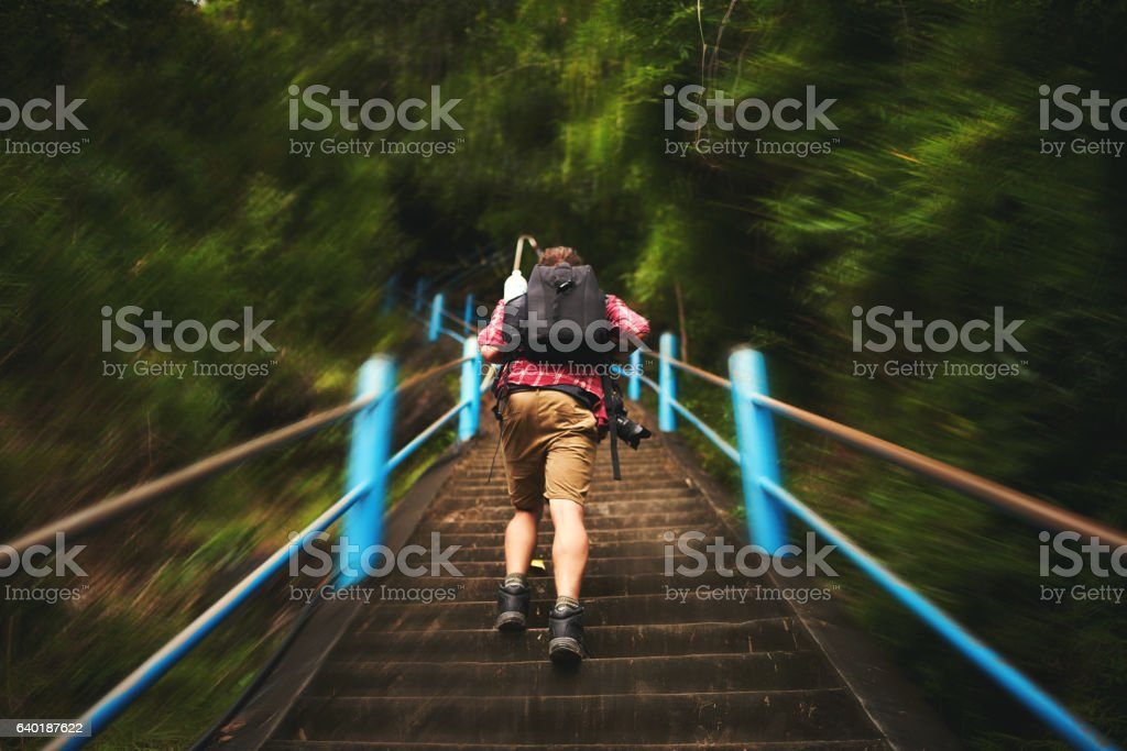Think about the thrill of making it to the top stock photo