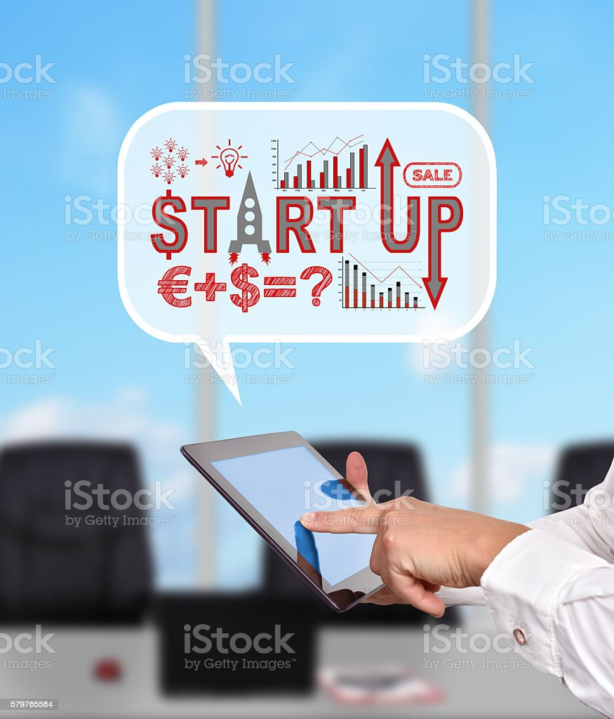 think box with start up concept stock photo