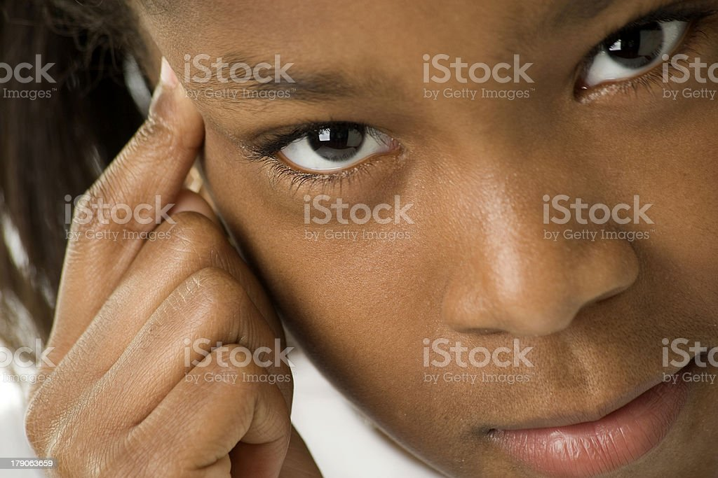 Think First Make Wise Choices Girl of African Descent royalty-free stock photo