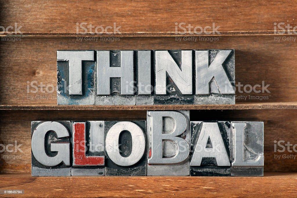 think global tray stock photo