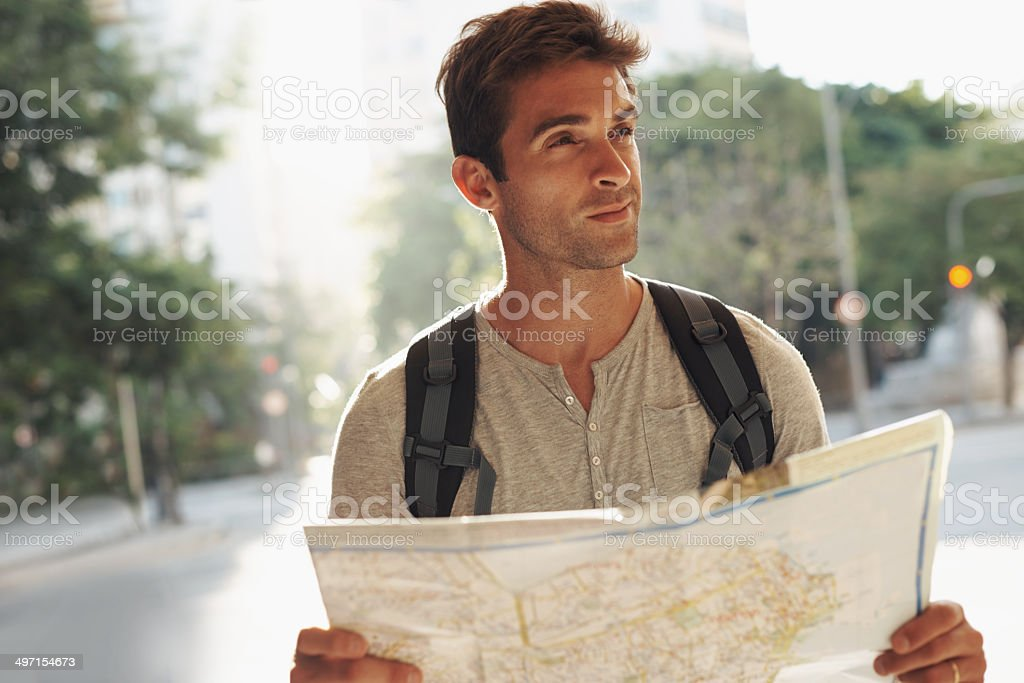 Think I should ask for directions stock photo