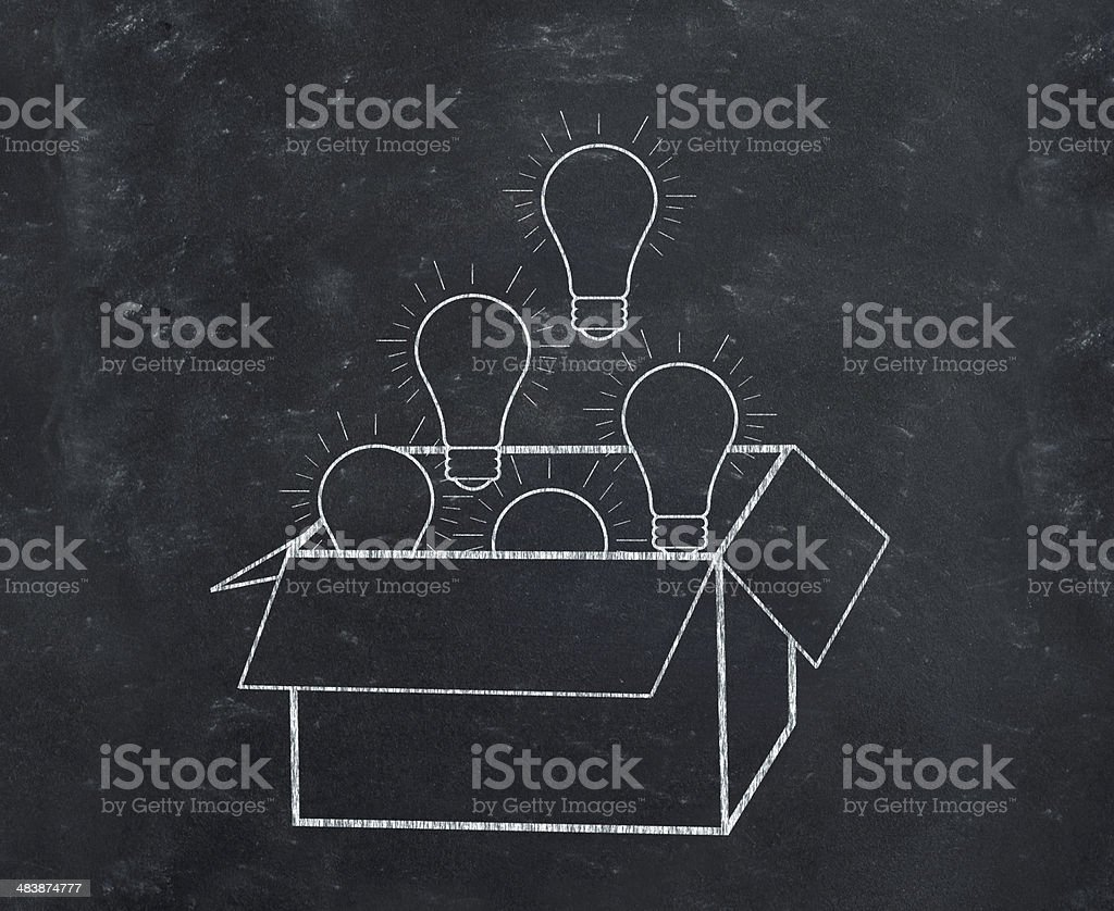 Think outside the box concept on blackboard royalty-free stock photo
