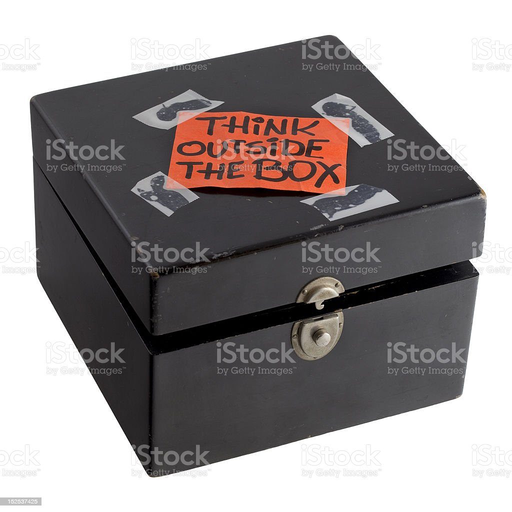 think outside the box concept or reminder royalty-free stock photo
