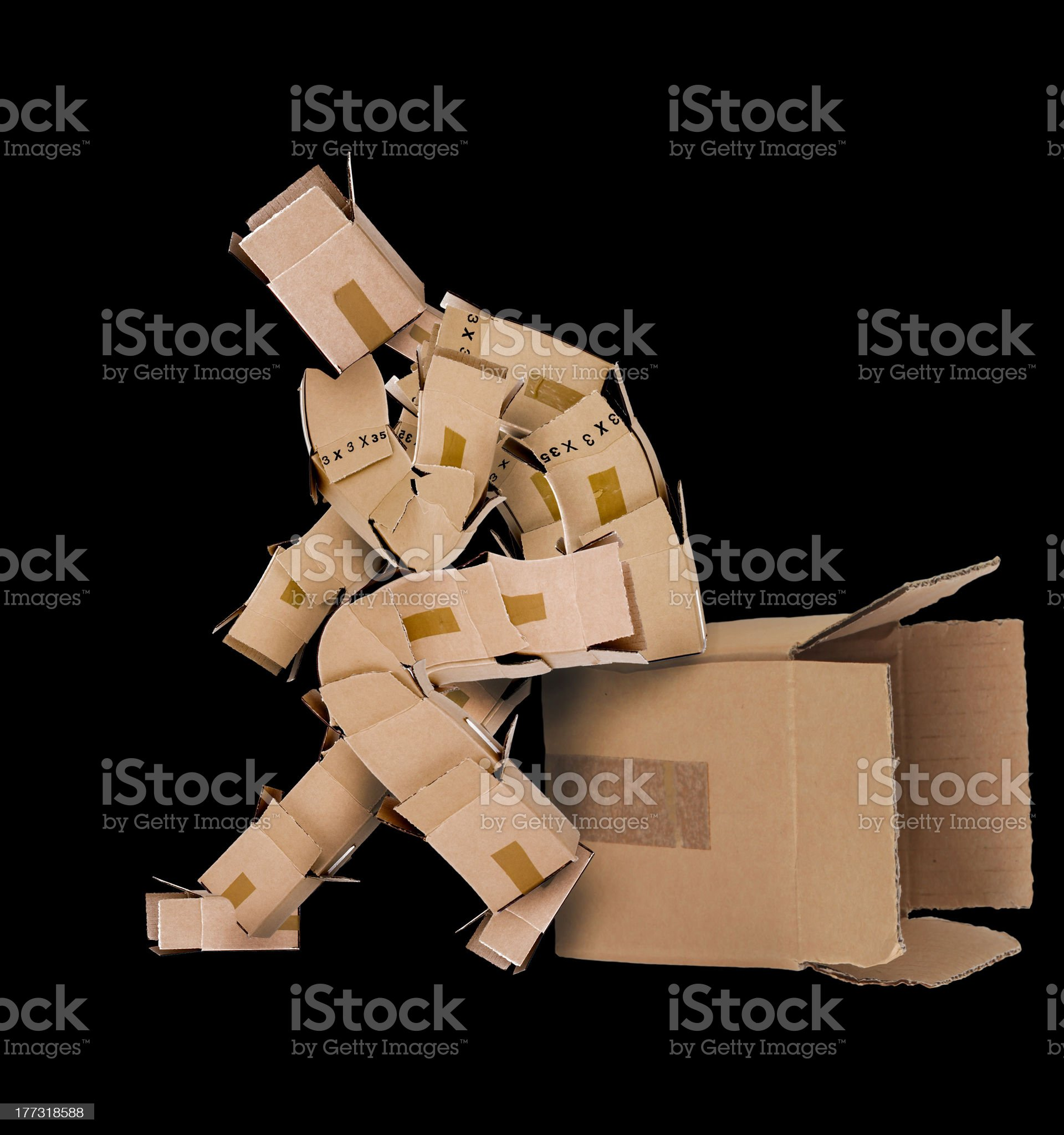Think outside the box concept with box character royalty-free stock photo