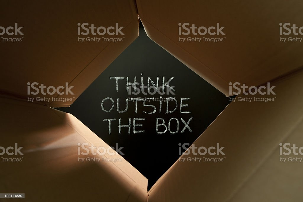 Think outside the box on blackboard royalty-free stock photo