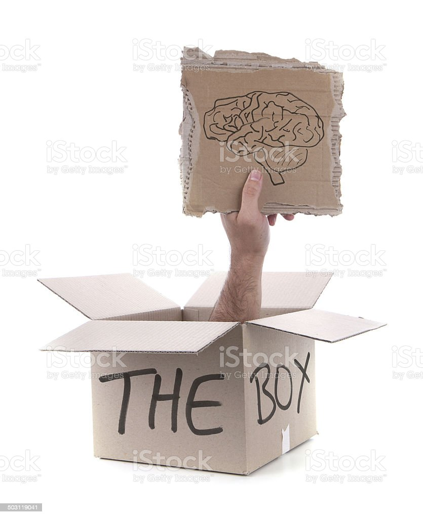 Think Outside the Box on White Background royalty-free stock photo