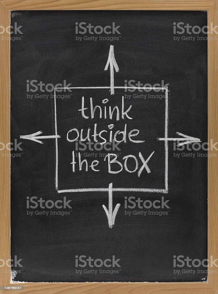 think outside the box phrase on blackboard royalty-free stock photo