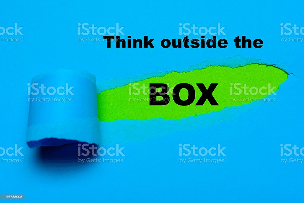 think outside the box stock photo