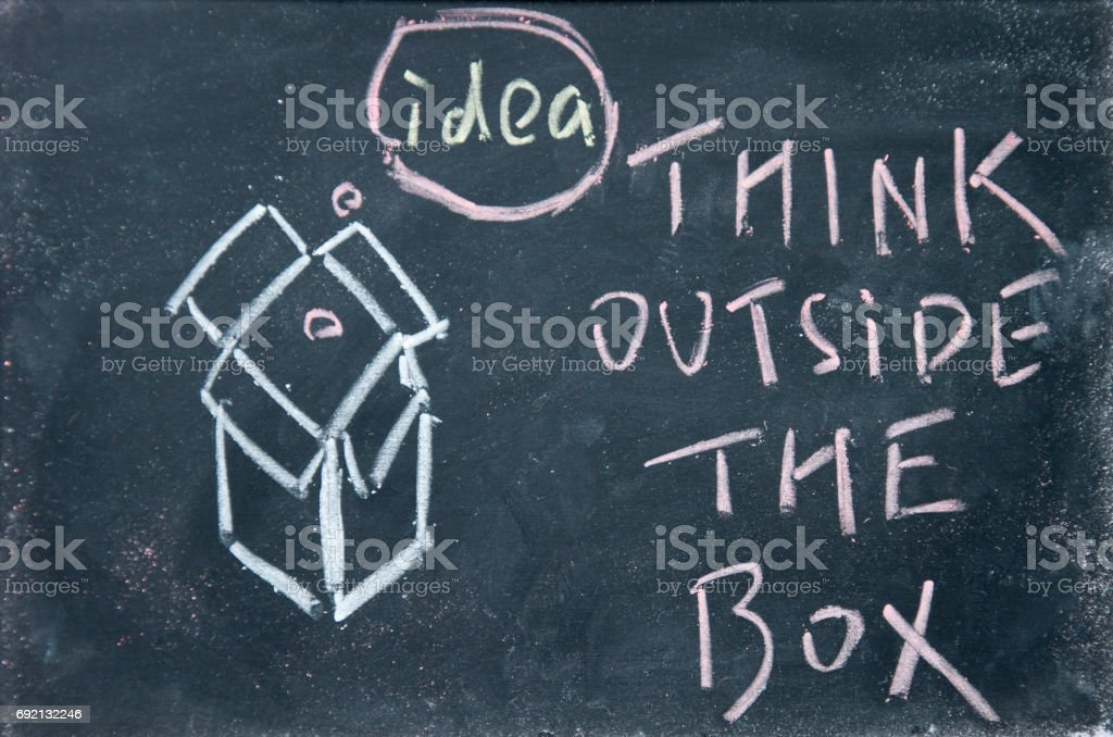 think outside the box sign drawn with chalk on blackboard stock photo