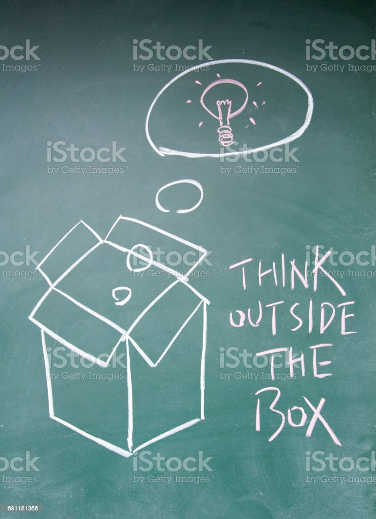 think outside the box sign stock photo