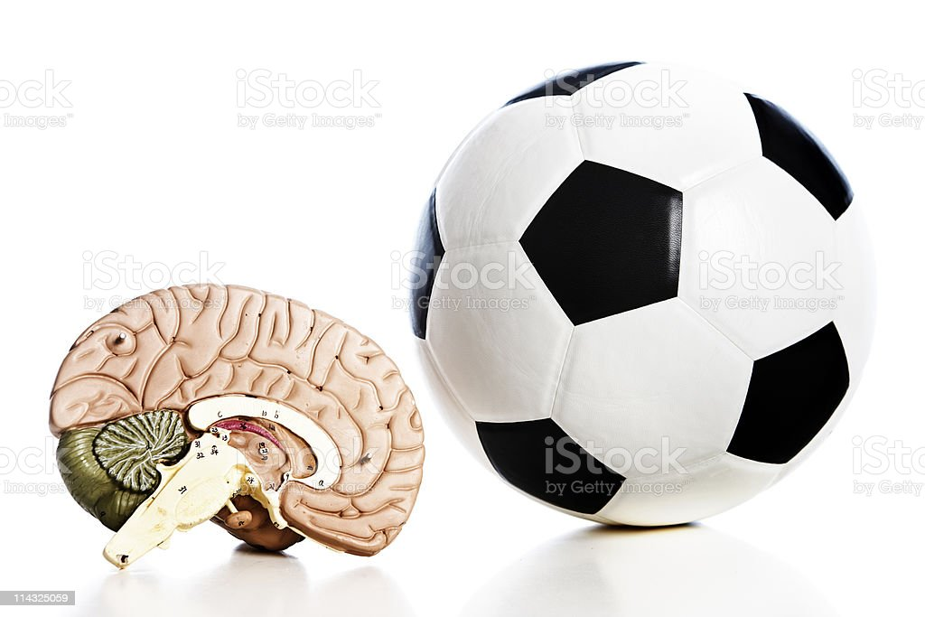 Think soccer: football and brain stock photo