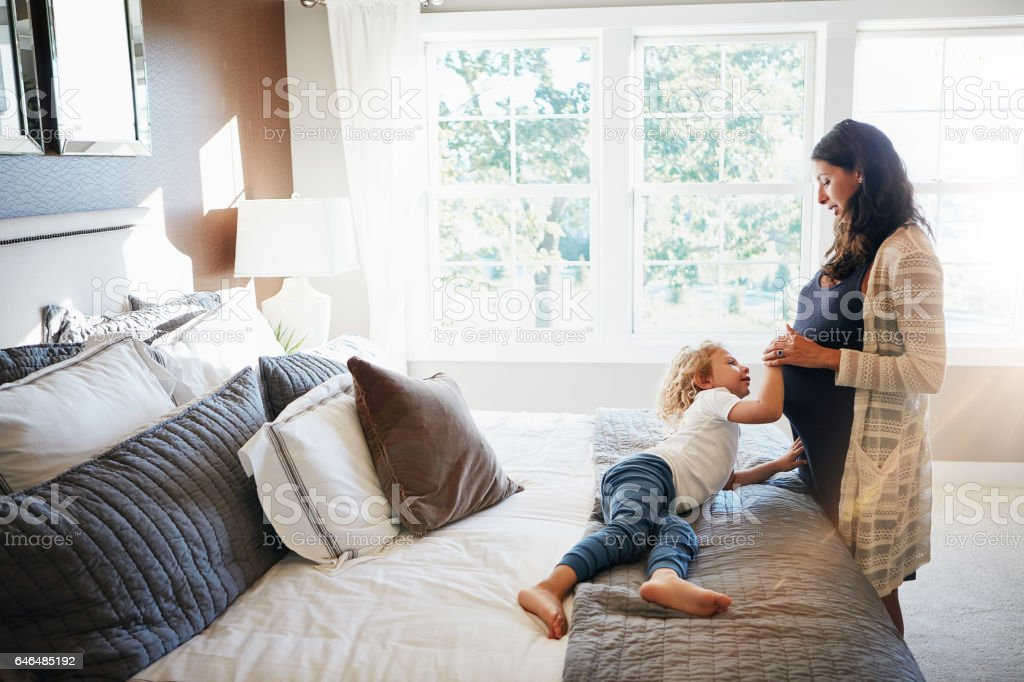 I think the baby is knocking to come out now royalty-free stock photo
