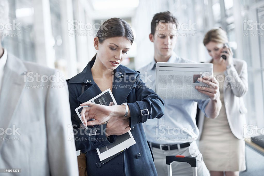 I think the flight is running late. stock photo