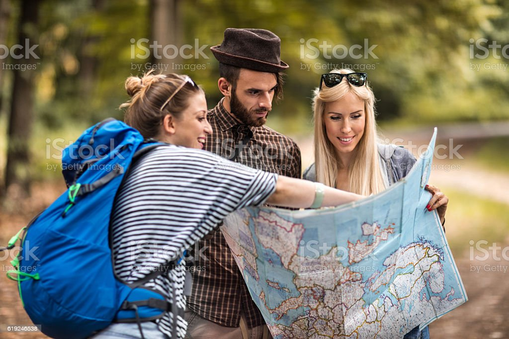 I think we should set our camp there! stock photo