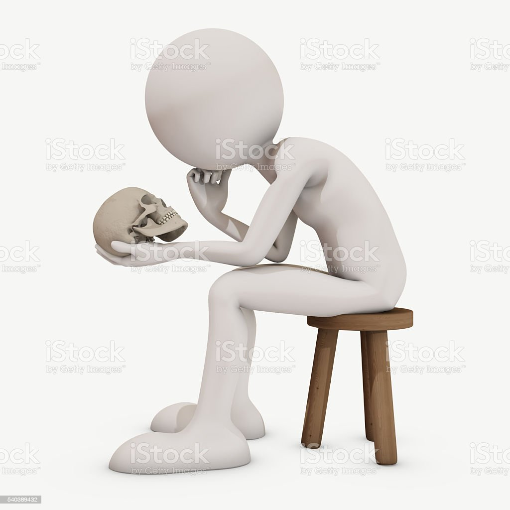 thinking abot death, 3d rendering stock photo