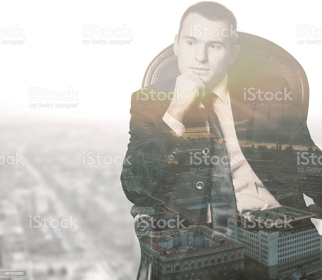 Thinking about business royalty-free stock photo