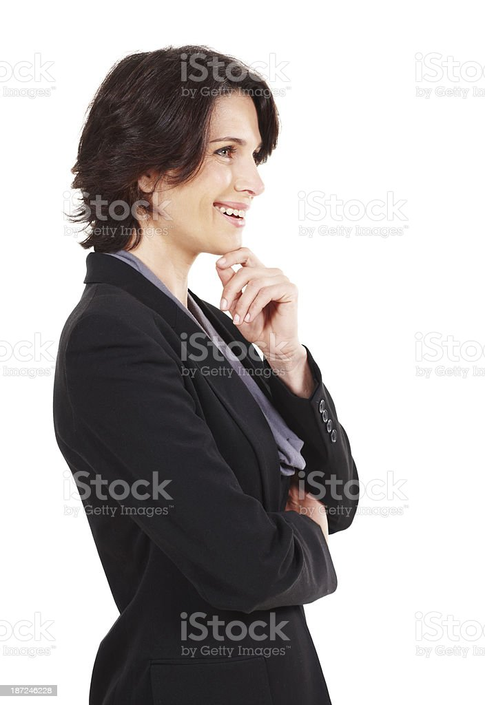Thinking about her company's future stock photo