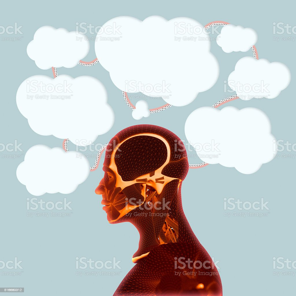 Thinking about issues, having ideas. Stream of consciousness.Train of thought. stock photo
