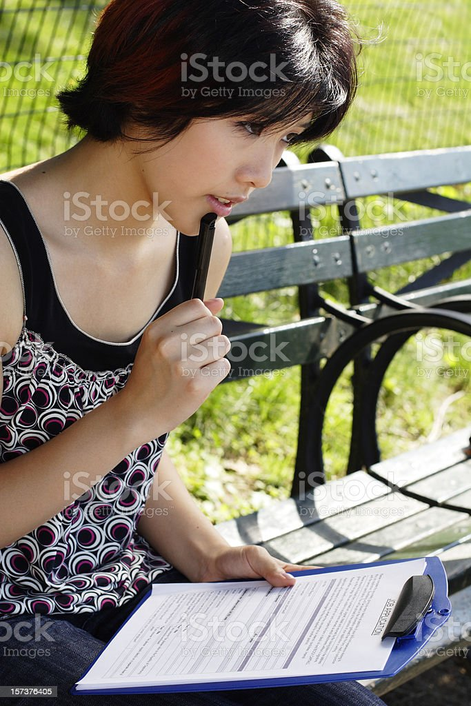 Thinking about Job Application royalty-free stock photo