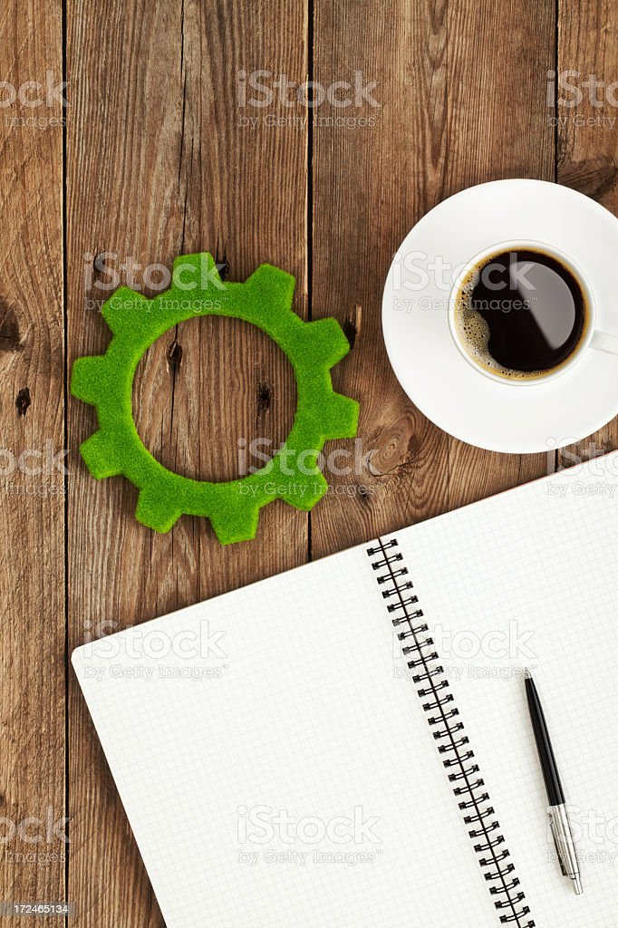 Thinking about new green industry stock photo