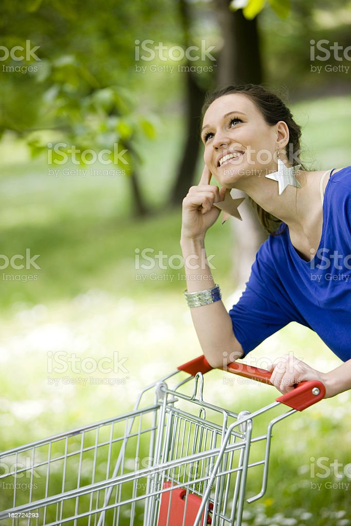 Thinking about shopping royalty-free stock photo