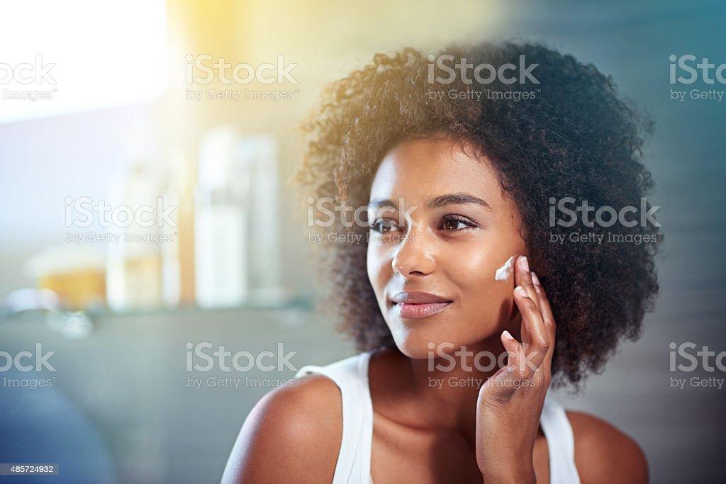 Thinking about skincare stock photo