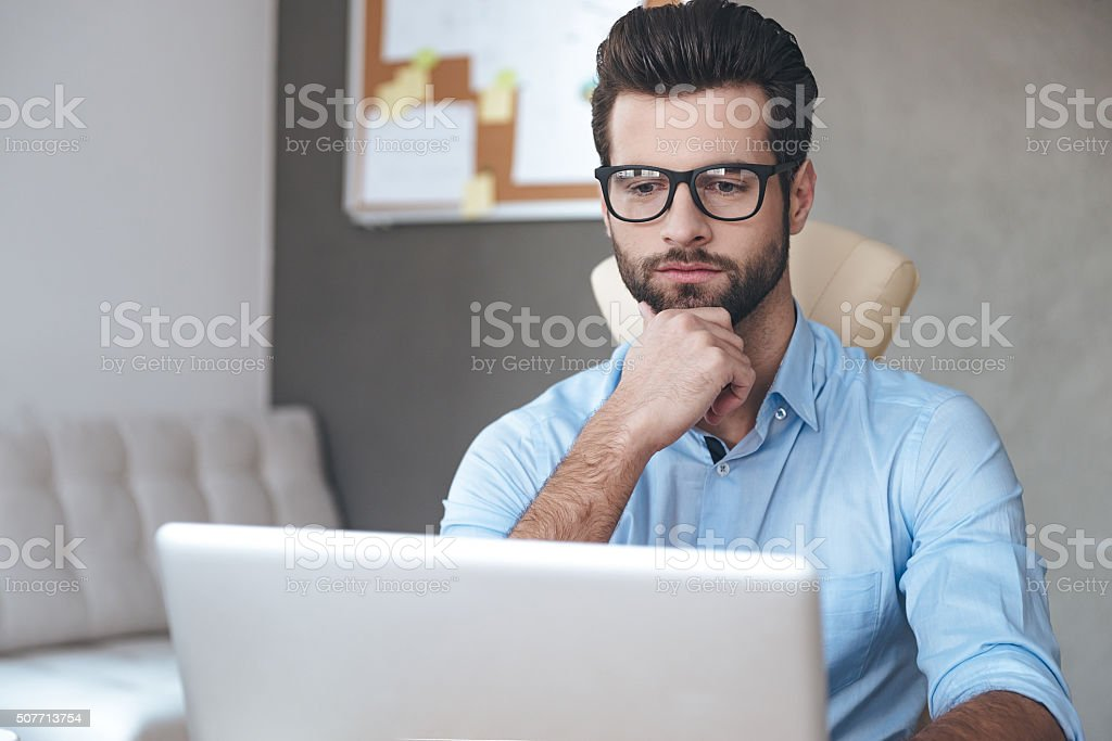 Thinking about solution. stock photo