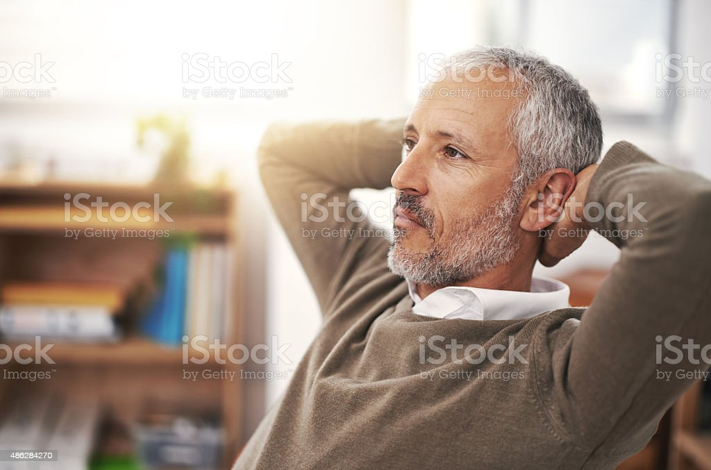 Thinking about the future of his company stock photo