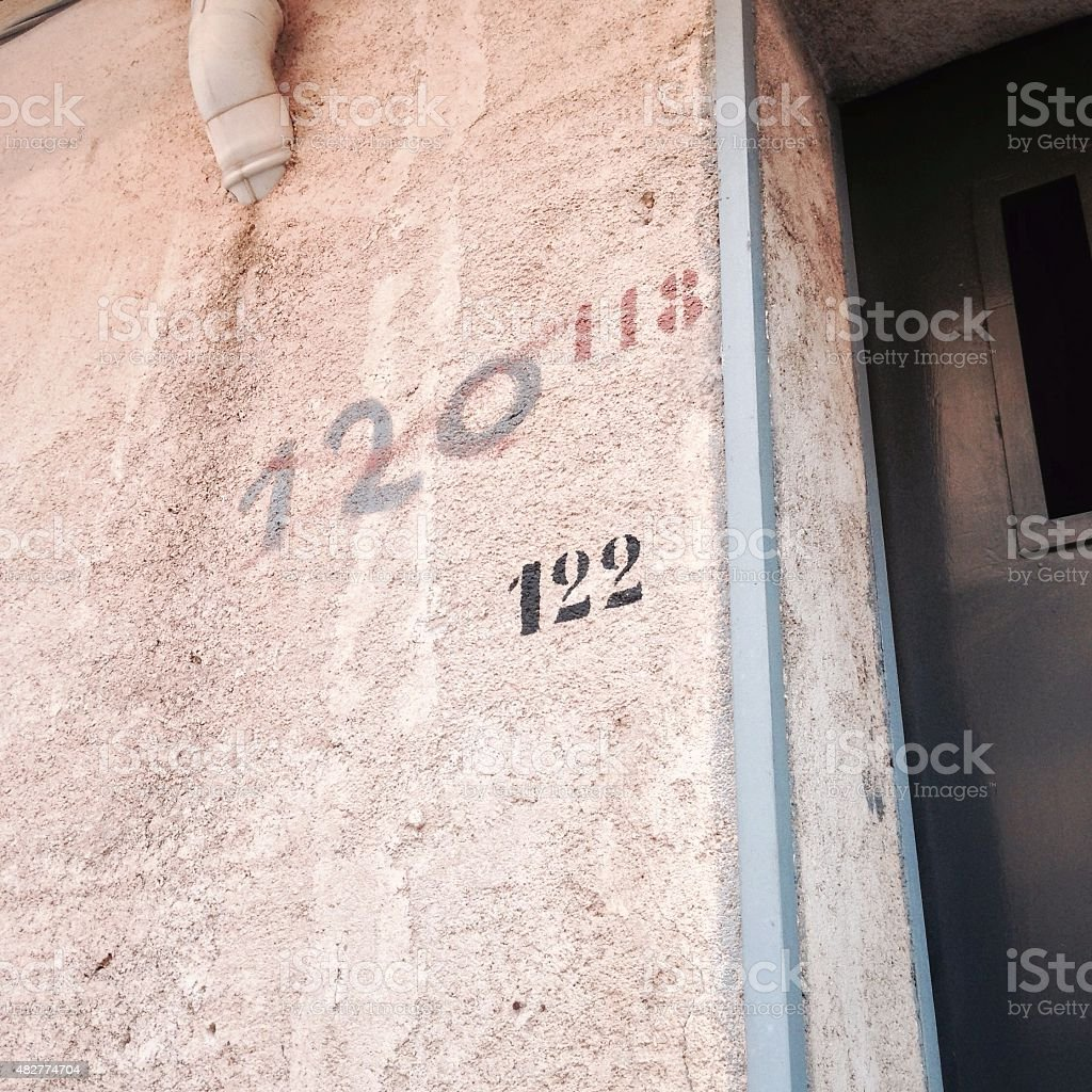 Thinking again the house numbers stock photo