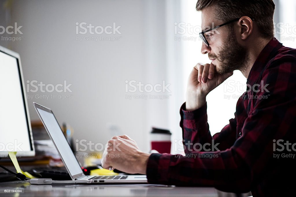 Thinking and working stock photo