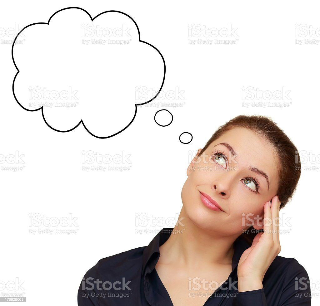 Thinking business woman looking up on speech empty bubble stock photo