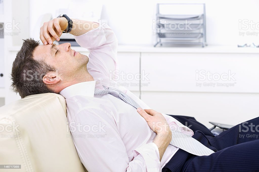 Thinking businessman stock photo