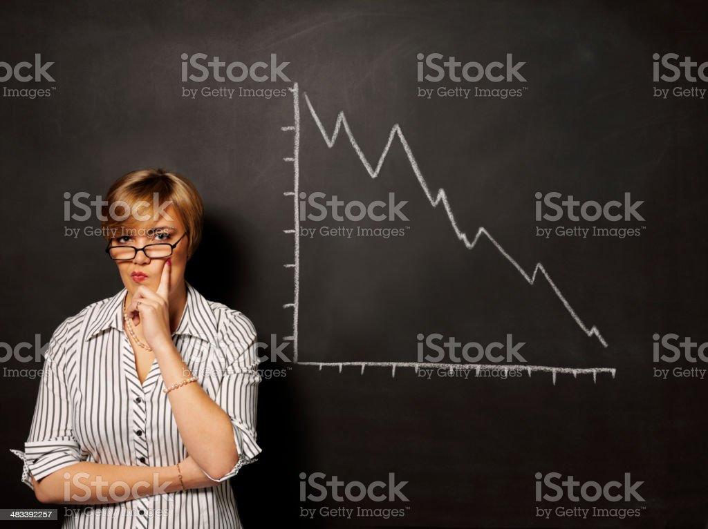 Thinking Businesswomen with a Blackboard royalty-free stock photo