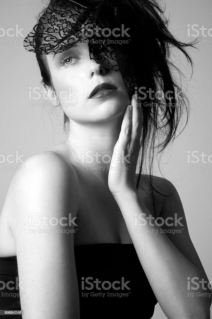 Thinking b/w royalty-free stock photo
