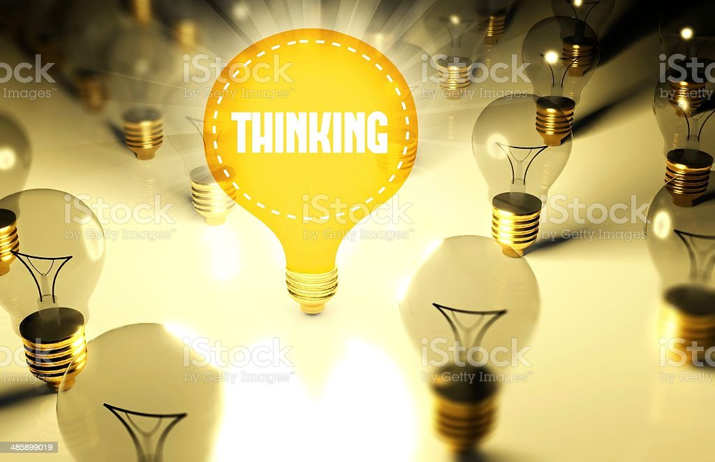 Thinking concept with light bulbs royalty-free stock photo