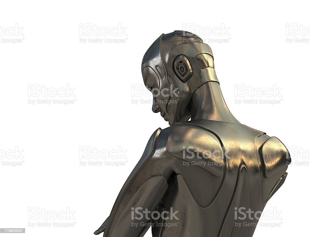 Thinking cyborg royalty-free stock photo