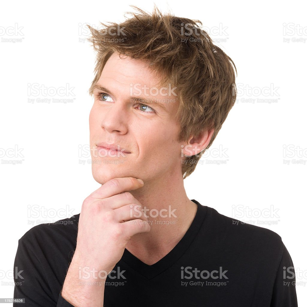 Thinking Daydreaming Young Man Looks Up royalty-free stock photo