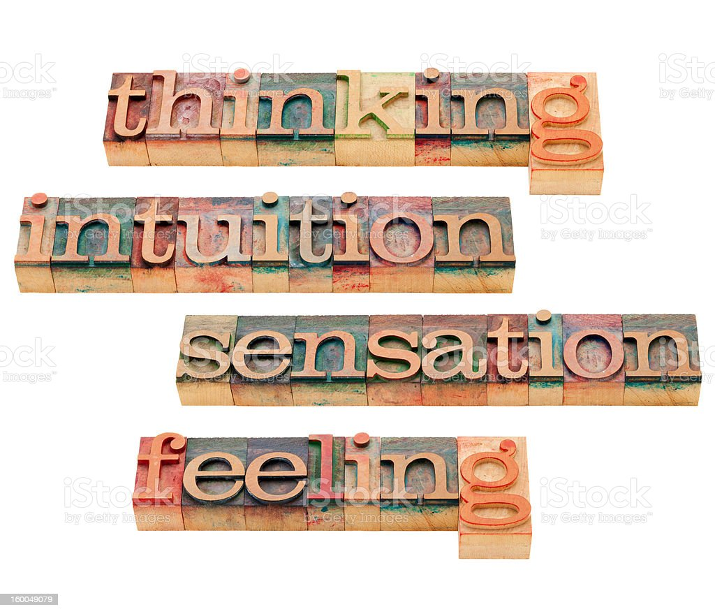 thinking, feeling, intuition and sensation royalty-free stock photo