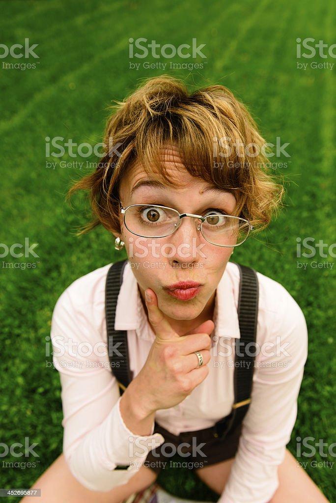 Thinking Female Nerd royalty-free stock photo