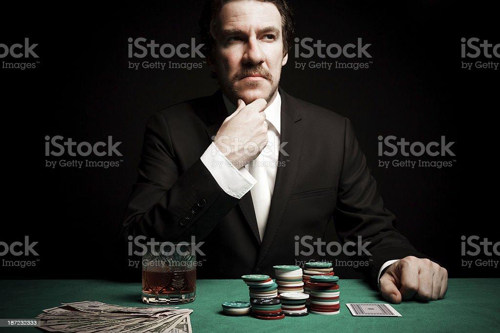 Thinking Gambler royalty-free stock photo