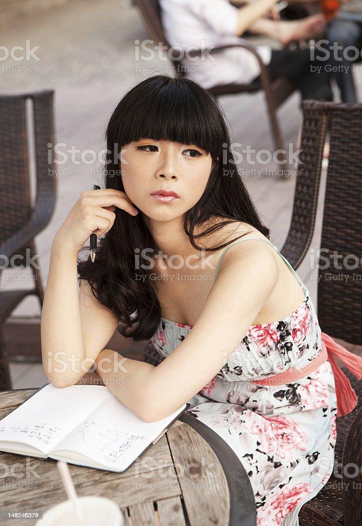 Thinking girl stock photo