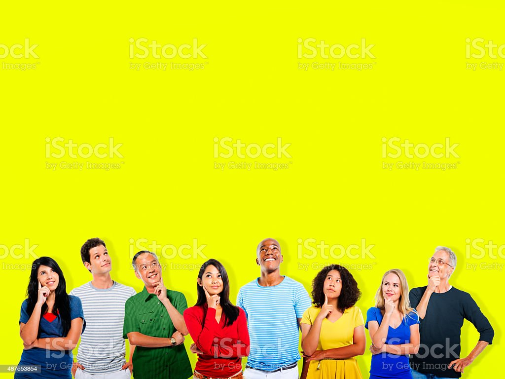 Thinking Ideas Innovation Thoughts People Concept stock photo
