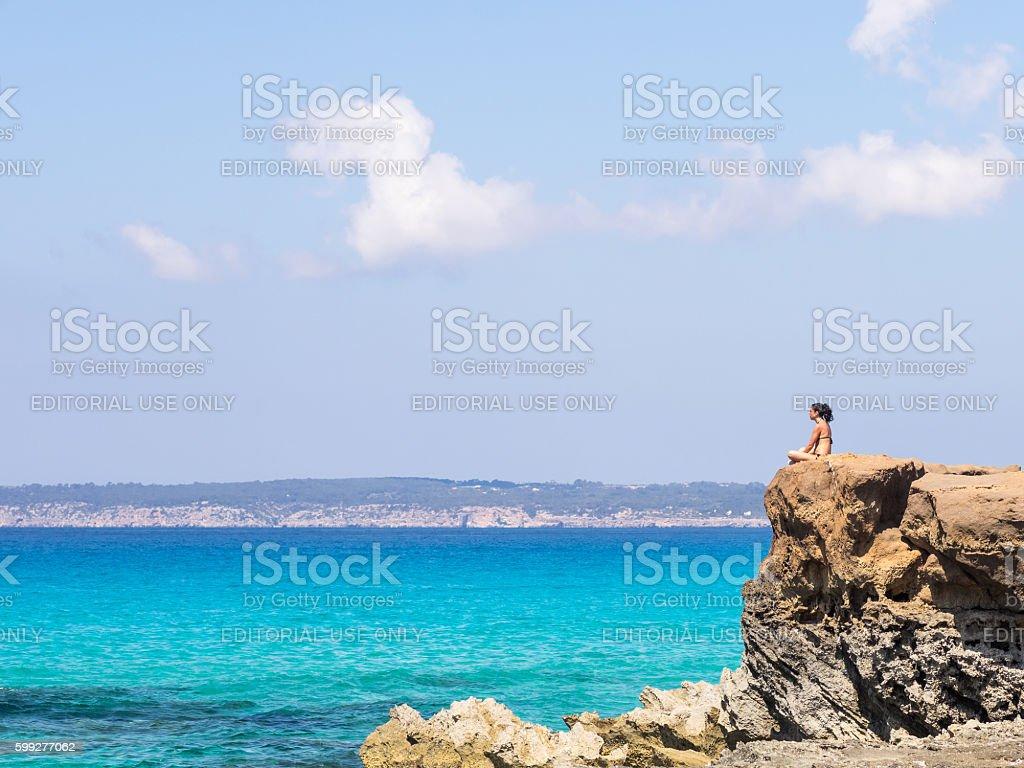 Thinking in Formentera stock photo