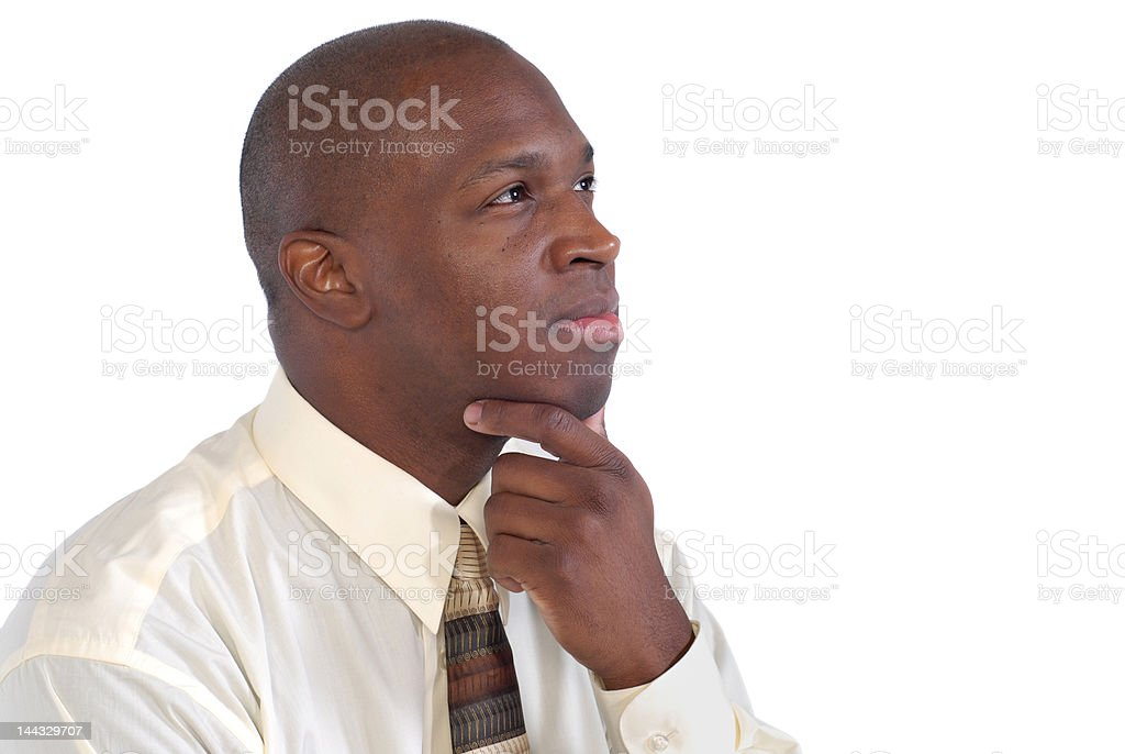 Thinking in profile royalty-free stock photo