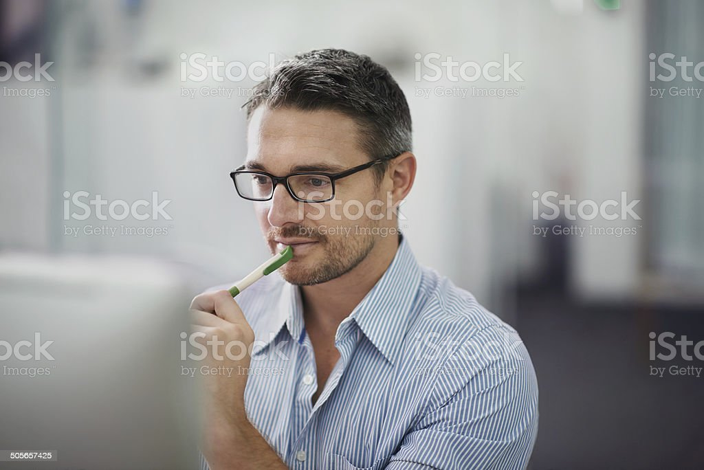 Thinking in progress stock photo