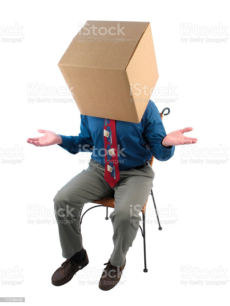 Thinking Inside the Box: Businessman Showing Uncertainty royalty-free stock photo