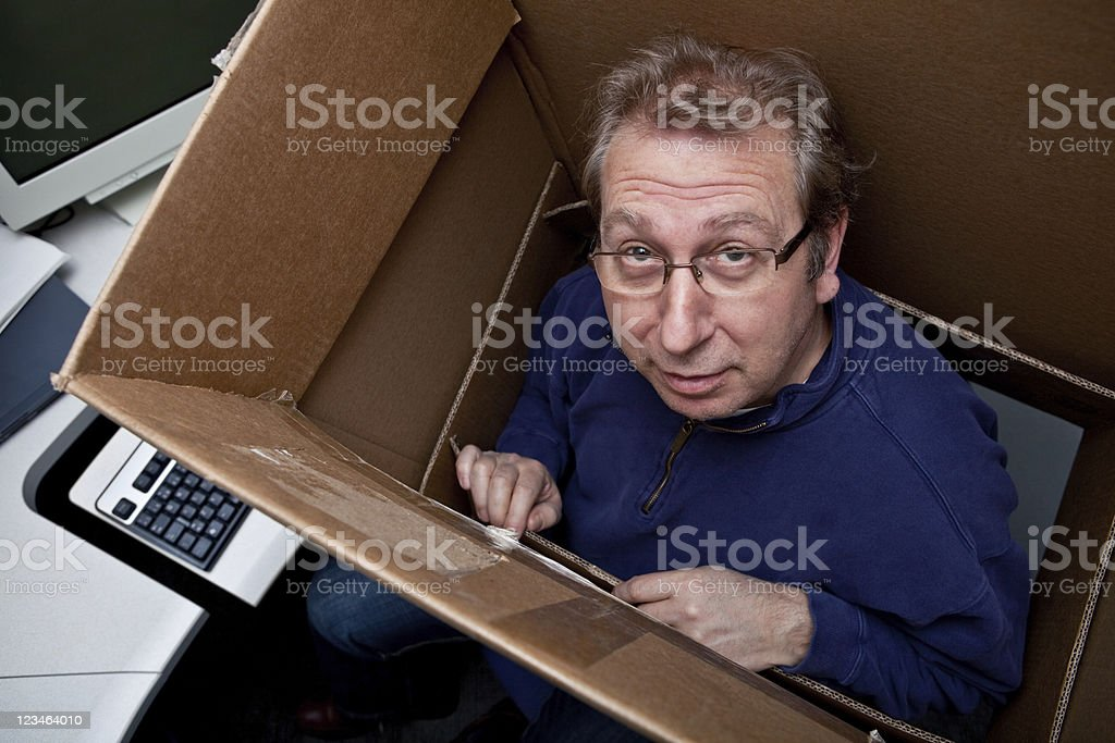 Thinking INSIDE the box stock photo