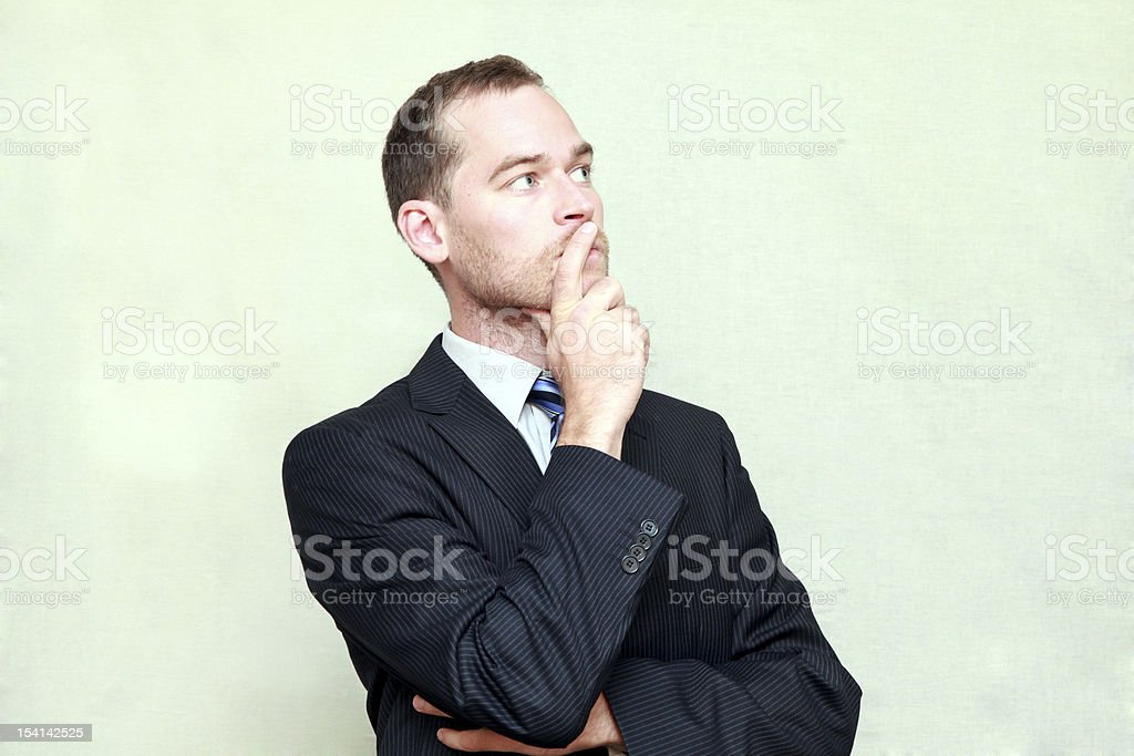 Thinking man looking away royalty-free stock photo