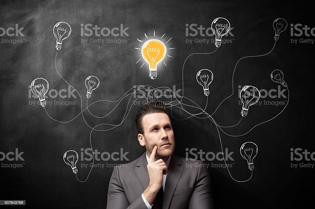 Thinking man new ideas stock photo